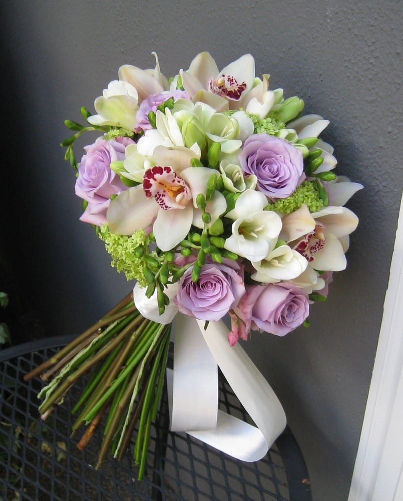 Bridal Bouquet With Lavender Roses Orchids White Freesia And