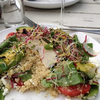 Quinoa salad with avocado, feta, tomato, radish, sprouts. Perfect lunch!