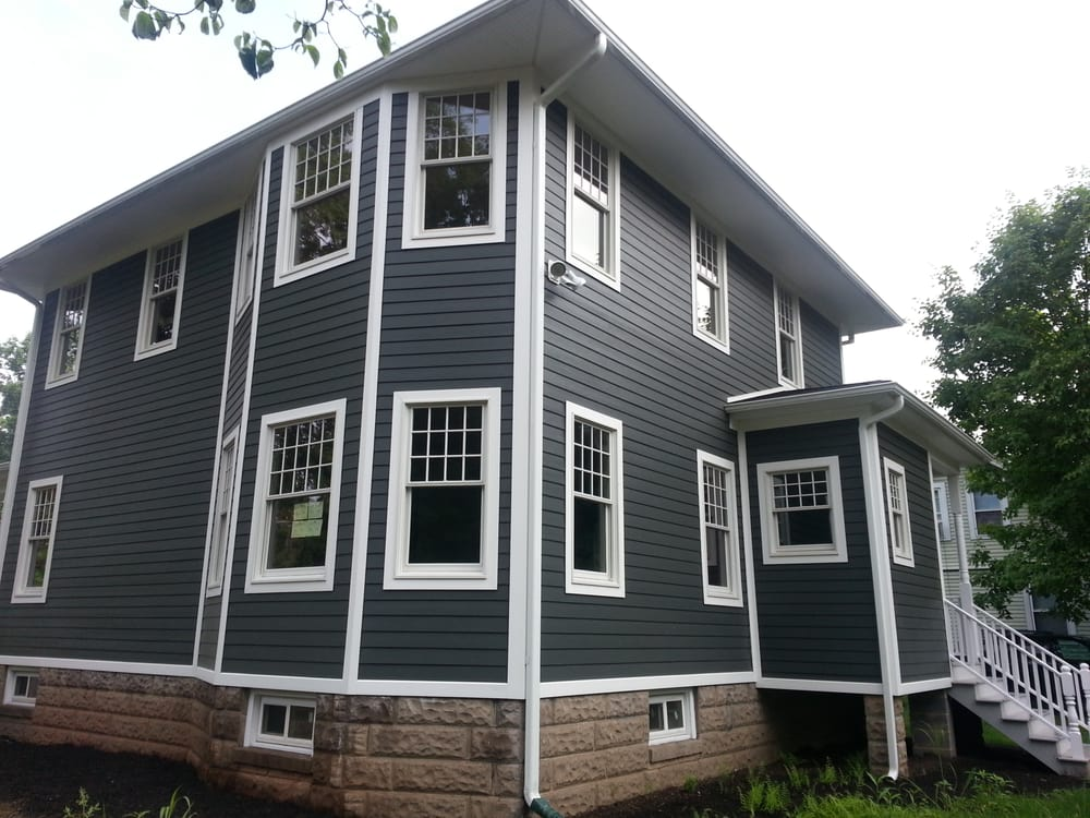 James Hardie Siding (midnight blue) vs. white azek trim | Yelp