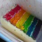 The Hummingbird Bakery - My slice of rainbow cake - London, United Kingdom