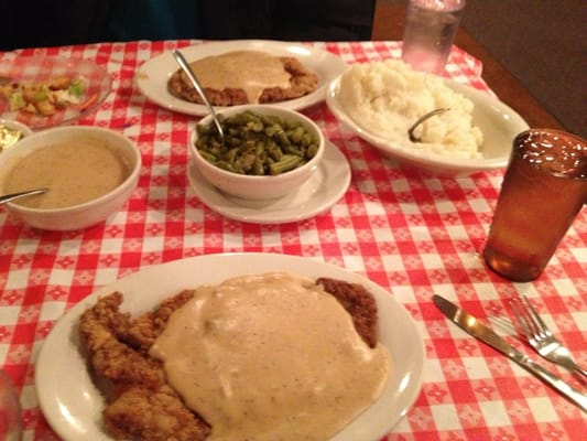Chicken-fried Steak, mashed potatoes and gravy and green beans. | Yelp