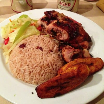 Jamaican Jerk Hut - Jamaican Jerk Chicken Thigh Quarters Platter ...