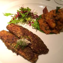prawn masala (prawn with onion, mustard and tomato masala); curry leaf and lentil crusted fish ginger and coconut chutney