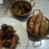 Duck hearts (top), mini sausages (middle), pan-seared foie gras (bottom).