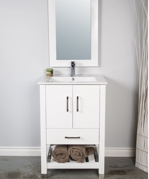 24 inch bathroom vanity with a single piece sink and open storage