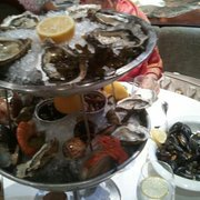 Raw seafood sampler platter.