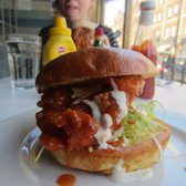 Buffalo chicken burger. Spicy sauce + cheesy sauce = messy saucy yumminess