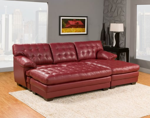 Super Comfortable Chaise Sectional In Bonded Red Leather