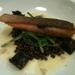 Trout with lentils and black pudding