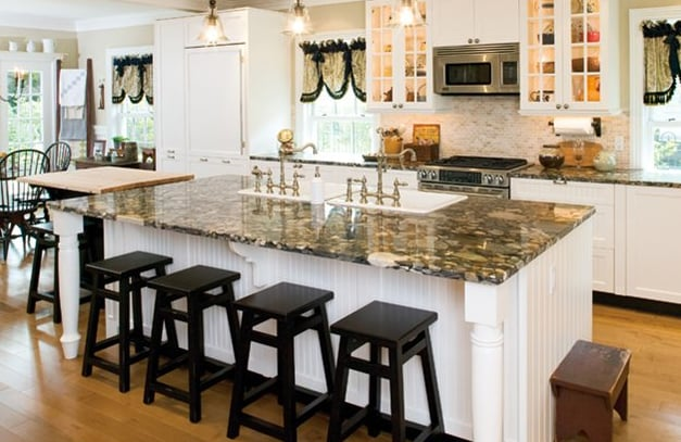 Kitchen island design with double sinks in morris county for Kitchen design yelp