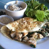 Crepe w/Chicken Breast, Spinach, & Mushrooms. Side of oatmeal.