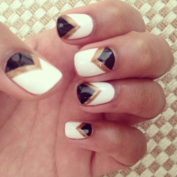 black white and gold chevron nails by katie yelp