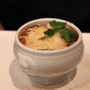 home made onion soup with bread and cheese