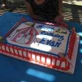 Evan's 2nd birthday cake - circus theme (sorry about the shade; party was at the park).