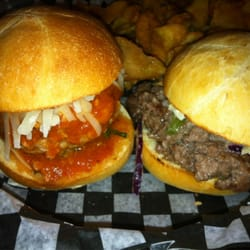 Slider Revolution - Toronto, ON, Canada. Left: Italian Meatball slider Right: Philly Steak Slider