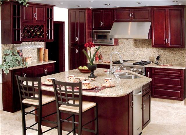 Maple cherry kitchen cabinets w brazilian granite counter for Brazilian cherry kitchen cabinets