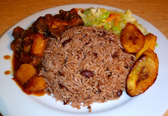 Kaboom Jamaican Flavor - Brown Chicken Stew with Rice & Beans, Steamed ...