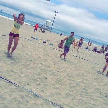 Beach volleyball court ocean