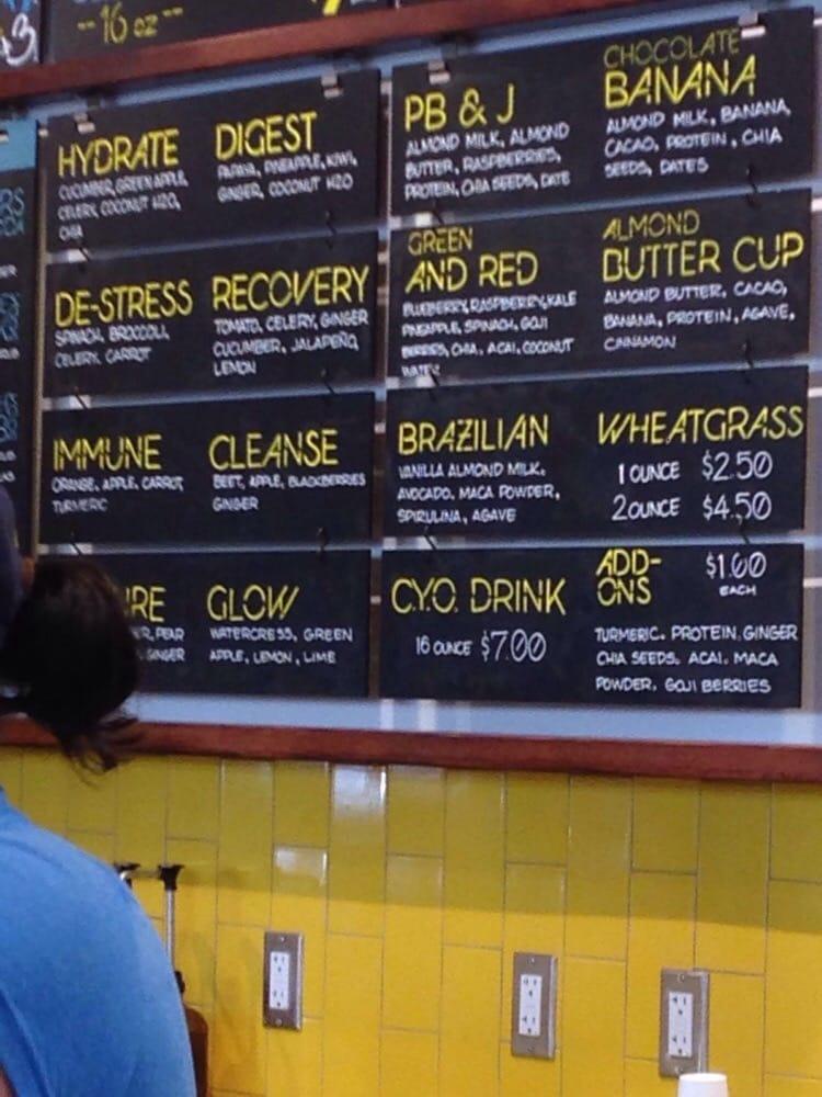 Juice smoothie bar menu yelp for Whole food juice bar menu