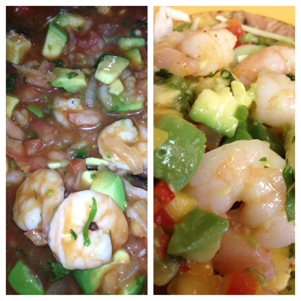 Shrimp Cocktail on the left and Shrimp & Avocado with Mango Salsa ...