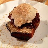 Toasted banana bread with date and orange jam, espresso mascarpone and hazelnuts