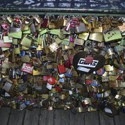 A close up of the many locks