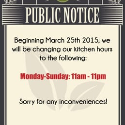 Just a heads up that Riverside Ten Ren's Tea Time Kitchen Hours are changing! :)