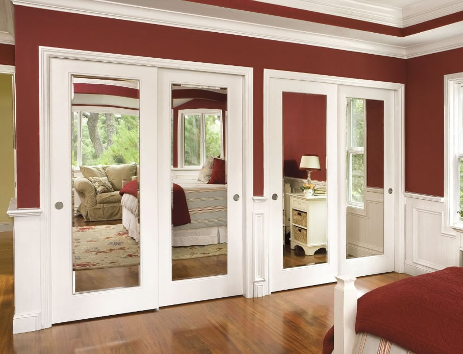 closet doors bypass aluminum wood composite or steel frame mirror frosted or milky glass. Black Bedroom Furniture Sets. Home Design Ideas