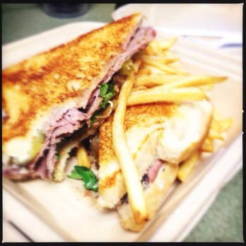 . Grilled Roast Beef Sandwich with provolone, grilled onions, pickles ...