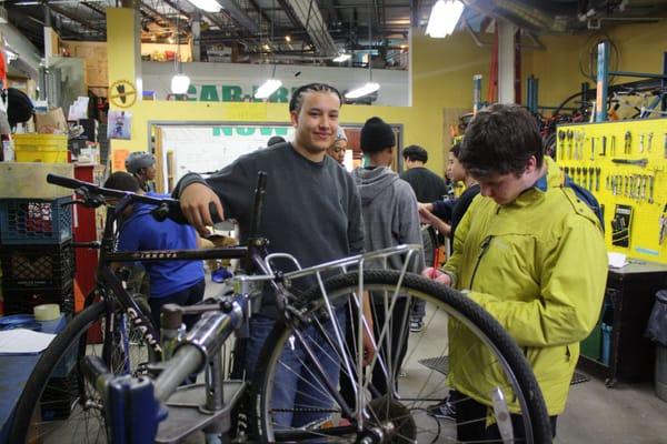 Bikes Not Bombs Jamaica Plain Ma Earn A Bike students assess