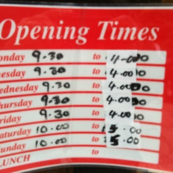 Coffee shop opening times