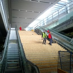 Escalators are almost ready ... and the marble stairs are being protected for now