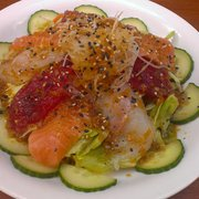 Tashimi mixed salad (ordered with cucumbers instead of tomatos)