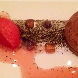 Black tea dome with blood orange sorbet