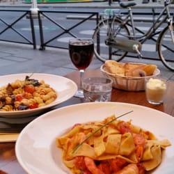 Shrimp tagliatelle and Fusili