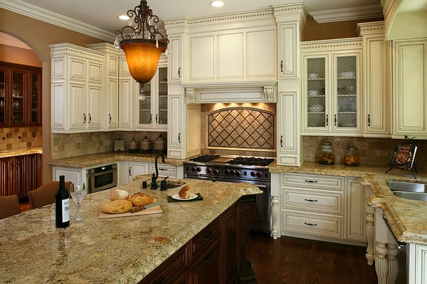 Antique white with a mocha glaze kitchen yelp for Antique white kitchen cabinets with dark island