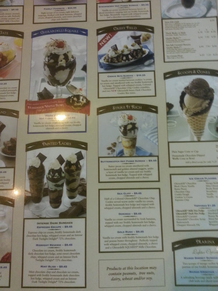 Ghirardelli Square Ice Cream Menu Ghirardelli Ice Cream