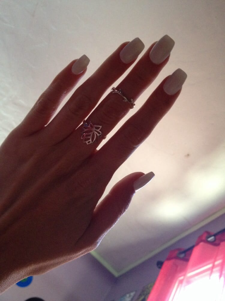 Square White Tip Nails White Narrow Square Nails Done