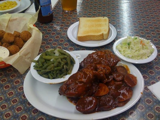 Chicken & links, green bean, slaw | Yelp