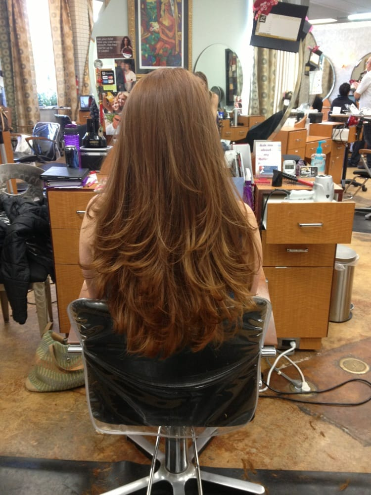 Beautiful Hair Cutting : ... . Beautiful long red hair!! full bangs lots of layers by Nina Minardi