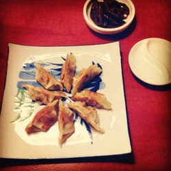 vegetarian dumplings and a side caramelized lotus root