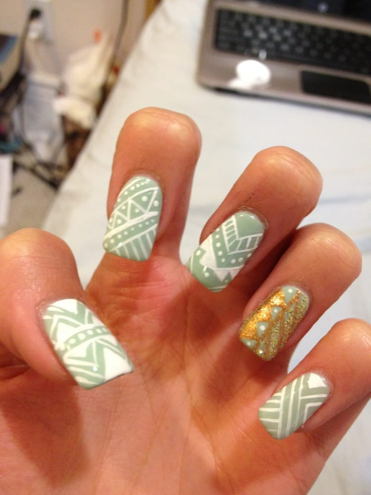 Tribal print on mint acrylic 2 yelp for Acrylic nails salon prices