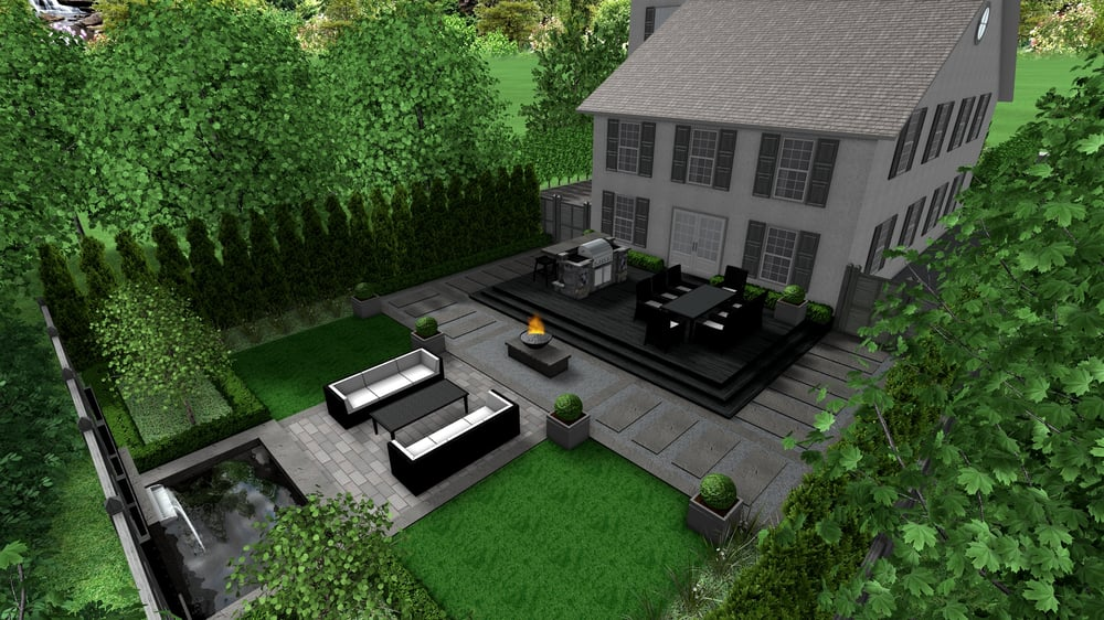 Modern formal elegance backyard 3d landscape design yelp for Garden design solutions