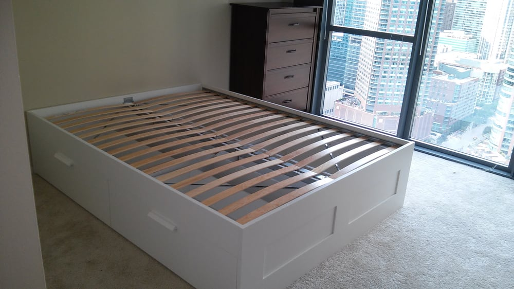 Ikea brimnes bed and brusali dresser yelp - Malm storage bed instructions ...