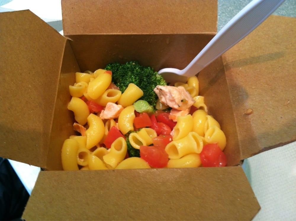 Salmon, quinoa noodles, double broccoli, tomato and miso ginger sauce ...