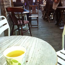 Tables outside the teahouse. Normally…