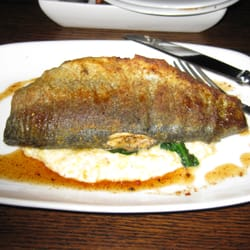 ... , VA, United States. Pecan crusted rainbow trout w/grits and spinach