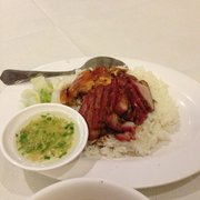 Roast pork and chicken rice