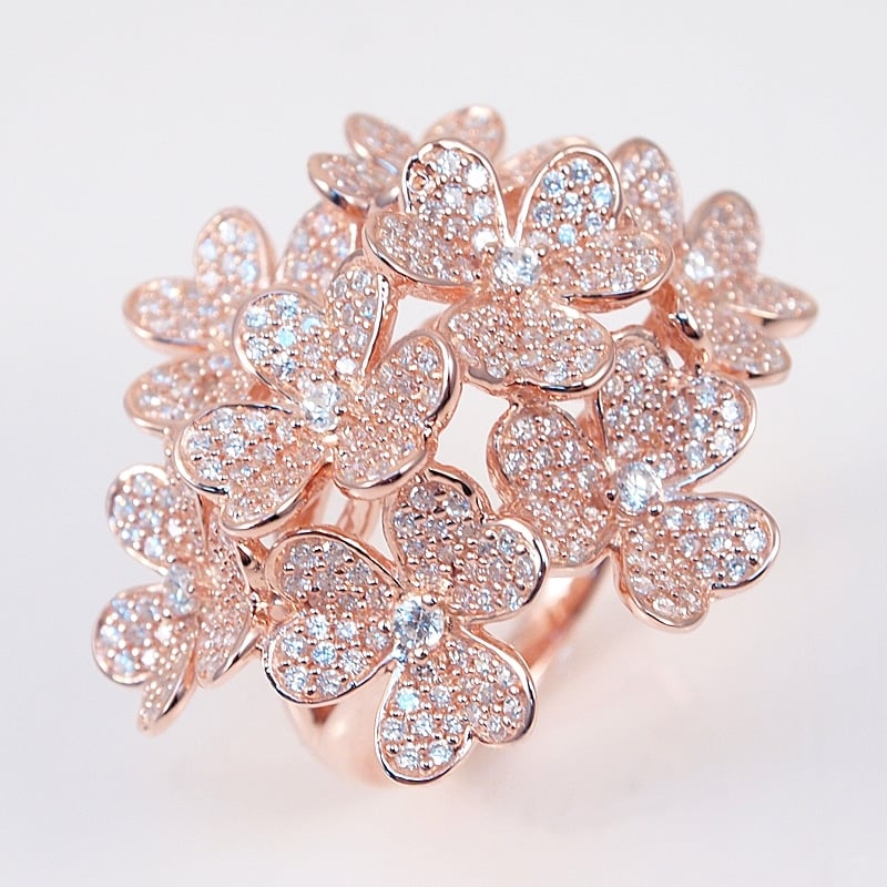 39 blossom 39 ring italian silver with 18k rose gold plating for Media jewelry los angeles