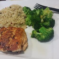 Ruby Tuesdays - Salmon worth rice pilaf & broccoli - Newark, NJ ...